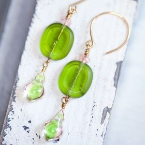 NWT Green Glass Gold Earrings